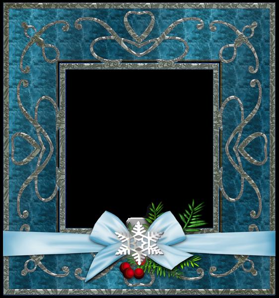 Pics Photos - Blue Transparent Christmas Photo Frame With Snowflakesl